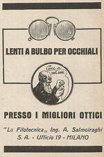Z2273 Ing. SALMOIRAGHI - Lenti a bulbo per occhiali - Pubblicità del 1927 - Ad