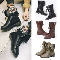 Womens Combat Army Military Worker Lace Up Flat Biker Leather Ankle Boots Sizes