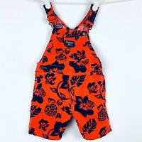 Oshkosh Overalls Shorts 24 Months Orange Blue Hibiscus Flowers Hawaiian Beach