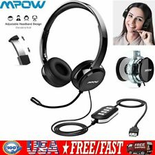 Mpow Wired Headphones Computer Headset Noise Cancell Mic For Skype Voice Call