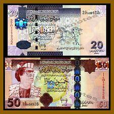 Libya 20 50 Dinars Set, ND 2008 2009 P-74 75 Muammar Gaddafi Unc