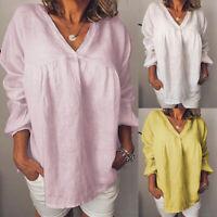 Autumn Femme 100% coton Simple Manche Longue Col V Chemise Haut Tops Shirt Plus