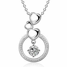 Gorgeous 3 Ct Round Diamond Halo Created Pendant Necklace 14K White Gold Plated