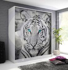 Huge sliding wardrobe animal tiger image front hanging rail inner shelves white