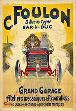 Art Ad C Foulon  Grand Garage Mechanic Car Auto Repairs Deco Poster Print
