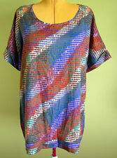 Ladies Womens Casual Geometric Print Short Sleeve Round Neck Top Millers Size 22