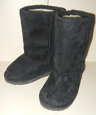 Marks & Spencer Girls Black Faux Suede Pull On Boots Size UK 6 Infant Flat Heel