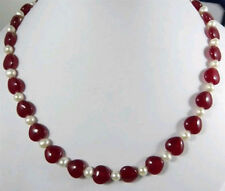 """Beautiful 7-8MM Natural White Cultured pearl&Heart red jade Necklace 18"""""""