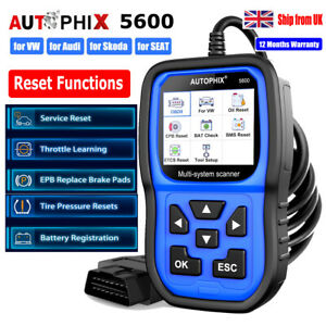 for VW Audi Skoda Caddy Code Reader OBD2 Scanner Reset OIL Battery EPB TPS TPMS
