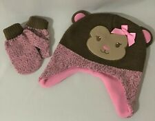 Healthtex 2T-5T Pink/Brown Monkey Hat with Matching Mittens