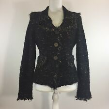 Sioni Womens Sweater Black Multicolor Eyelash Fringe Button Front Cardigan Small