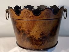 Vintage  Painted & Decorated Toleware Tin  Planter