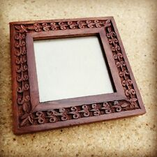 Small Wooden Free-Standing Picture / Photo Frame Carved Leaves Handmade in India