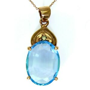 "Large Swiss Blue Topaz & Green Diamond 9ct Rose Gold Pendant + 18"" Chain"