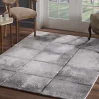 Teppich Flachflor Modern Konturenschnitt Kariert Meliert Wohnzimmer Grau Creme