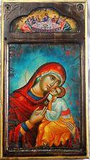 Handmade Wooden Greek Orthodox Icon Painting Canvas Virgin Mary Jesus Christ M15