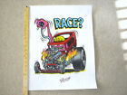 """RARE  1995 ED BIG DADDY ROTH HAND SIGNED SHOW  """" RACE """"   POSTER  21.5"""" x 17"""""""