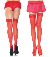 SHEER LACE TOP Thigh High BACK SEAM Stockings 4 COLORS O/S & PLUS