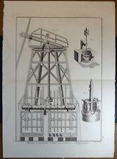 Gravure Antique Print XVIIIe Moulin à Huile avec Pressoir Languedoc Provence