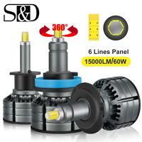 2Pcs 6-sides 360° CSP LED Headlight Mini Bulbs Kit 60W 15000LM Hi/Lo Beam 6000K