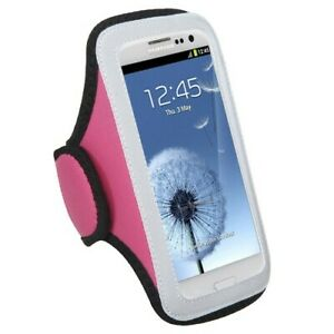 Medium Vertical Pouch Sports Arm Band Phone Holder Mobile Device Cell Pink/Gray