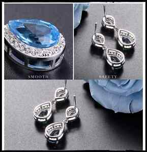 Long Crystal Dangle Drop Stud Earrings Diamante Bridal Rhinestone Silver Wedding