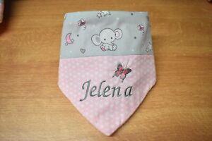 Halstuch mit Namen rosa Elefant Sterne Herzen Kuschelfleece Baumwolle 1-4 Jahre
