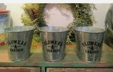 Lot of 3 Farmhouse Galvanized Flowers & Garden Rustic Country Home Decor Planter
