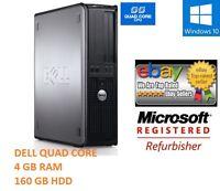 WINDOWS 10 DELL QUAD CORE DESKTOP PC 160GB 4GB COMPUTER TOWER 1 YR WRNTY