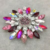 A Fabulous & Unique Large Vintage Style Shades of Pink & Red Flower Brooch Pin