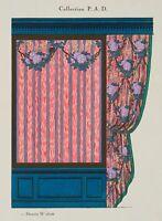 Vorhangdesign, Design-Entwürfe, ETUDE POUR TAPISSERIE, 1920, Pochoir, Gouache