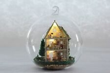 Mini glass ball DIY Wooden Dollhouse miniature with LED  Green Forest