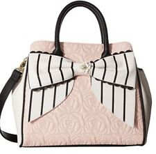 Betsey Johnson Quilted Rose Blush Scallop Bow Satchel Tote Bag NWT $108 Ret