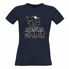 Halloween Womens TShirt Attempted Murder Crow Pun Horror Moon Flock Bird