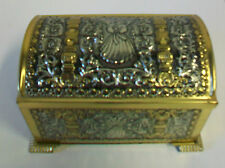 West Germany Teleflora Textured Tin Container Chest w/ Feet Angel 6401/52