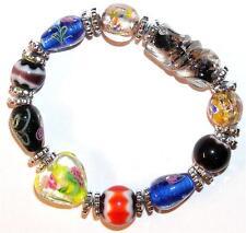 Goldstone Many Colors Bracelet Lampwork Beads Flowers