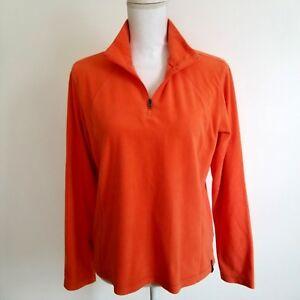 Columbia Womens L Large Fleece Jacket Orange Quarter Zip J1MP