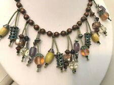 Chico's Beaded Necklace Art Glass Multicolor Dangle