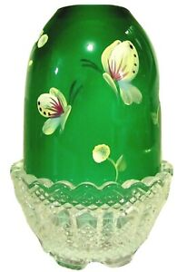 "Fenton Glass Jolly Green Handpainted ""Butterflies"" Fairy Lamp, new in box"