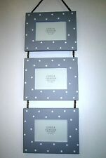 Grey Polka Dot Wooden Hanging Triple Picture Frame by Gisela Graham