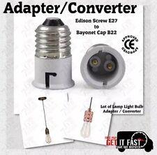 2x Lamp Light Bulb Edison Screw E27 To Bayonet Cap B22 Adapter Converter CE Appr