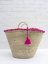 French Market Beach Basket, Tote Shopper Straw Bag Hot Pink Fuchsia Wool Tassels