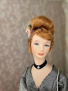 Vintage Miniature Dollhouse Artisan Porcelain Doll Redhead Lady Elegant Pretty