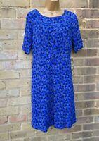 White Stuff A-line Summer Dress. Blue Floral Size 12uk