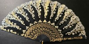 #312 Chinese fan folded party black with white and glittered gold accents