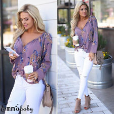 US Sexy Women Floral Long Sleeve Loose Blouse Casual Shirt Chiffon Top T-Shirt