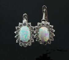 585 Weißgold Ohrringe mit Klappverschluß  mit ovalen Opal Steinen 1 Paar