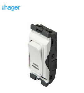 Hager Sollysta Grid Module 20A DP switch white marked Fridge Freezer WMGSDP2/FF