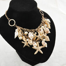Women Chunky Sea Shell Starfish Pearl Bib Statement Necklace Luxury Jewelry AU
