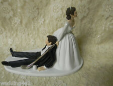 Wedding Party ~Golf Ball & Club~ Golfer Cake Topper Bride Groom Dark Hair Couple